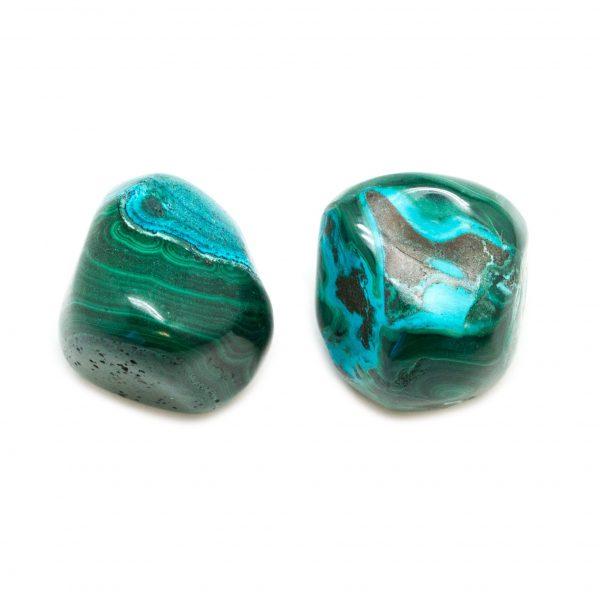 Malachite Chrysocolla Extra Large Tumbled Stone Pair-191056