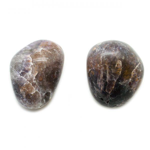 Cacoxenite in Amethyst Aura Stone Pair-0