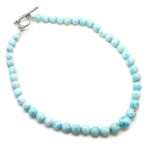 Sterling Silver Larimar Bead Necklace-82086