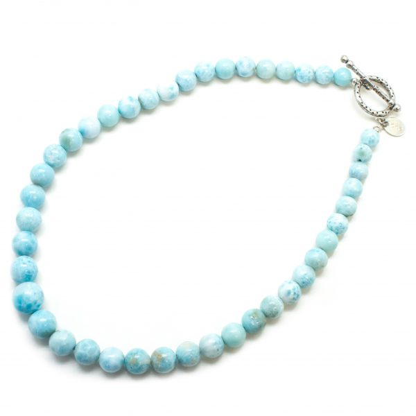 Sterling Silver Larimar Bead Necklace-82085