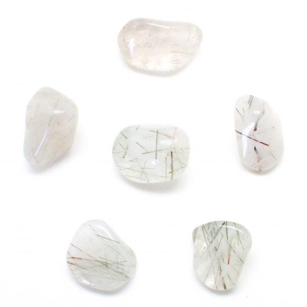 Tourmilated Quartz Tumbled Stones (Med.)-78137