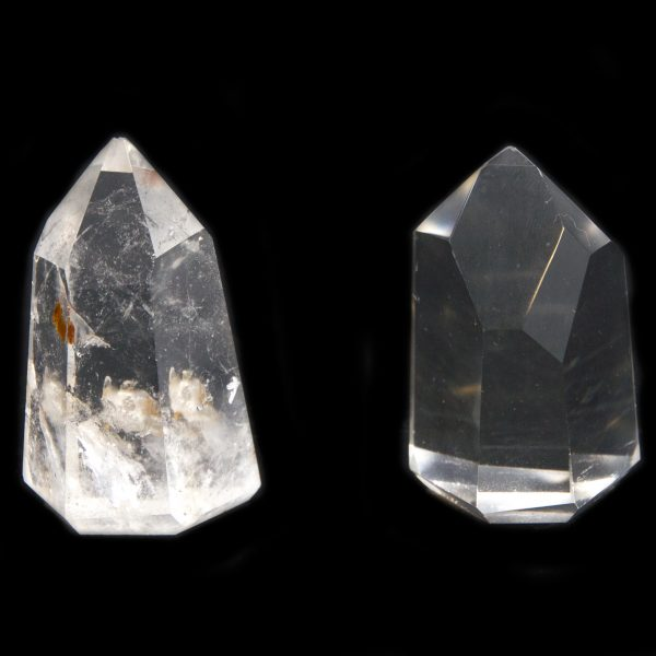 Polished Channeling Quartz Point Pair with Timeline to the Future-0