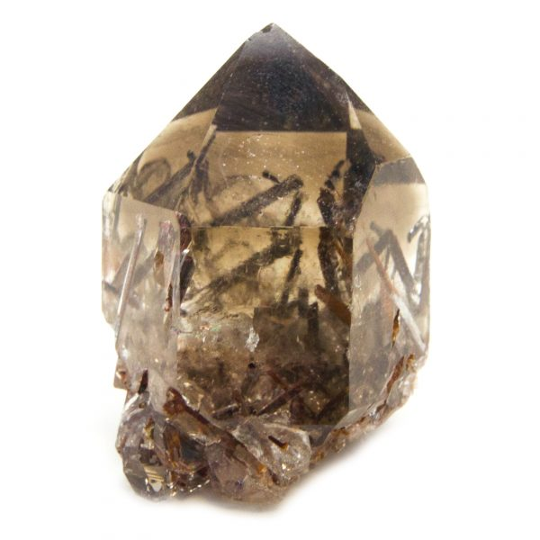 Rutilated Red Epidote in Smoky Quartz Crystal with Rainbow-0
