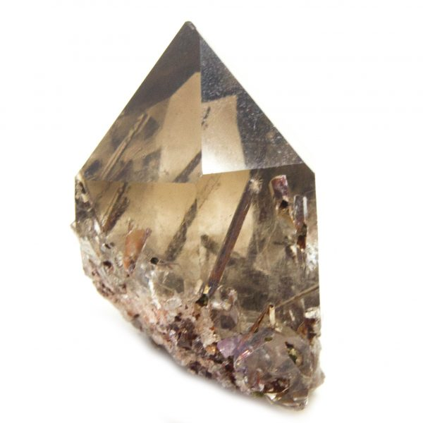 Rutilated Red Epidote in Smoky Quartz Crystal with Rainbow-86682