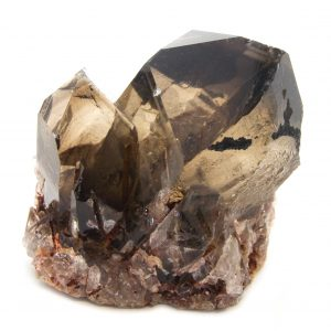 Rutilated Red Epidote in Smoky Quartz Crater Crystal with Timeline to the Past-86687