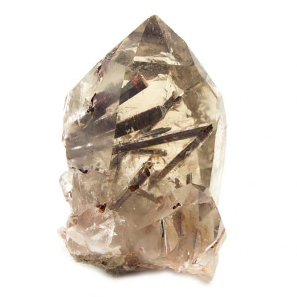 Rutilated Red Epidote in Smoky Quartz Crystal with Bridge-0