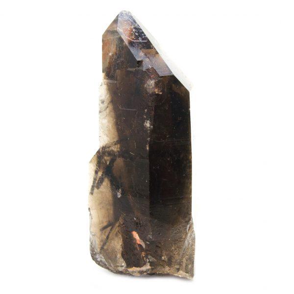 Rutilated Red Epidote in Smoky Quartz Crystal with Diamond Window-86706
