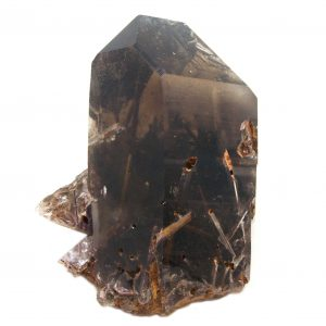 Rutilated Red Epidote in Smoky Quartz Record Keeper Crystal with Bridge and Timeline to the Past-86730