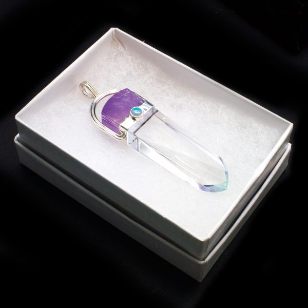 S.S. Ametrine, Quartz, and Opal Lotus Pendant-98647