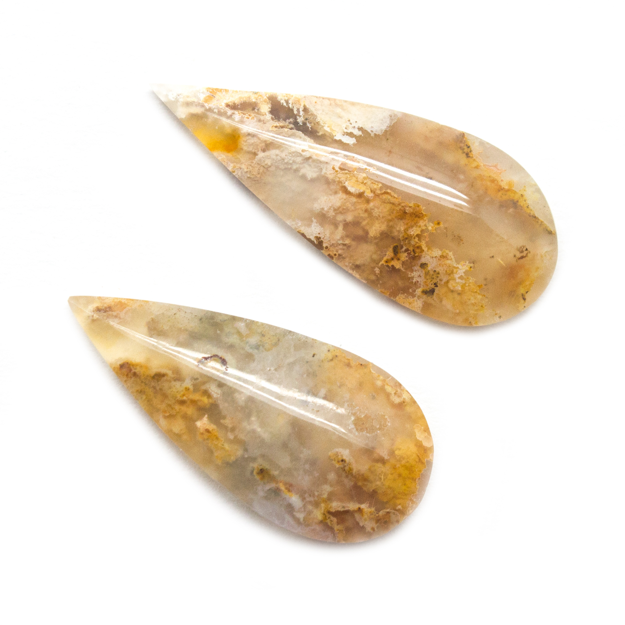Handcrafted USA Bird Of Paradise Plume Agate Cabochon Natural Gemstone.
