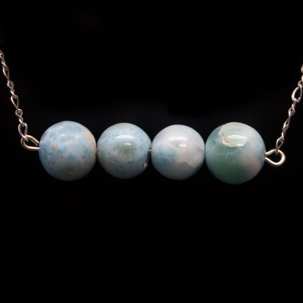 Sterling Silver Larimar Bead Necklace-0