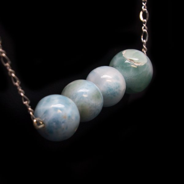 Sterling Silver Larimar Bead Necklace-114881