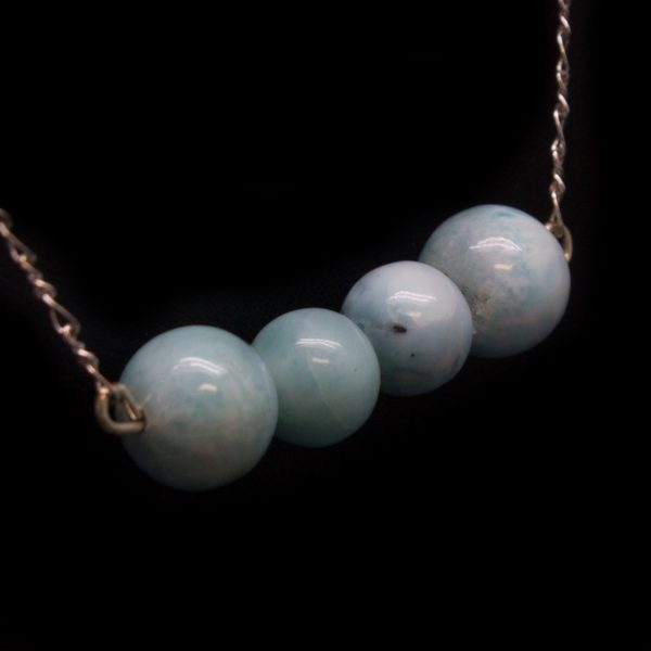 Sterling Silver Larimar Bead Necklace-114889