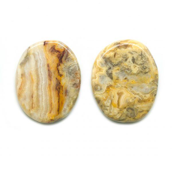 Crazy Lace Agate Flat Palm Stone Pair-132999