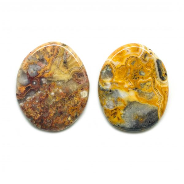Crazy Lace Agate Flat Palm Stone Pair-133000