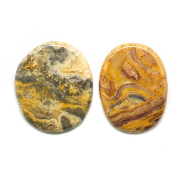 Crazy Lace Agate Flat Palm Stone Pair-0