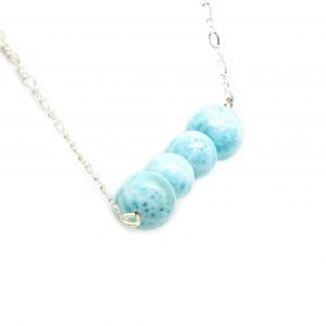 Sterling Silver Larimar Bead Necklace-137499