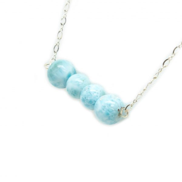 Sterling Silver Larimar Bead Necklace-137501