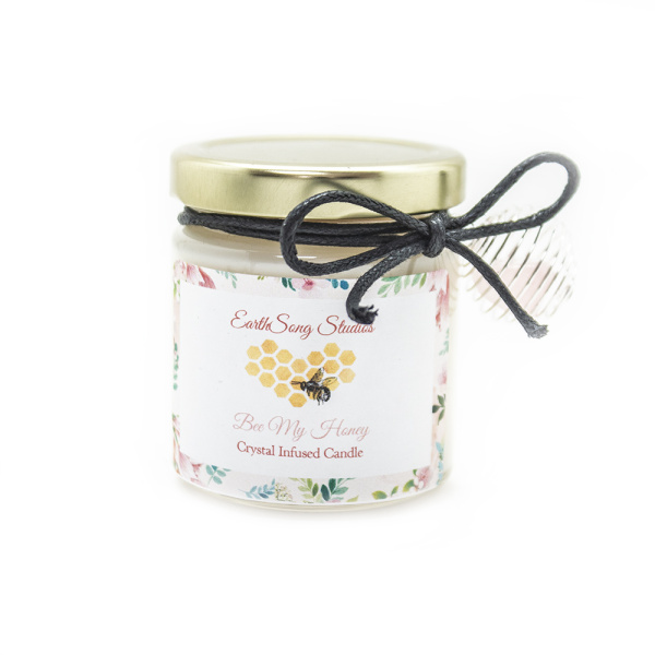 """""""Bee My Honey"""" Rose Quartz Crystal Infused Valentine's Candle-0"""