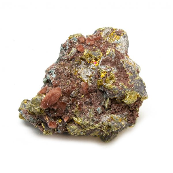 Red Hematite Quartz with Chalcopyrite Cluster-0