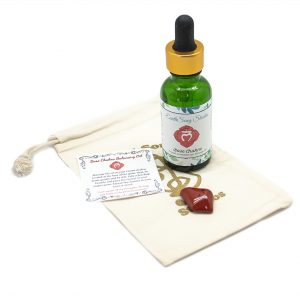 Root Chakra Massage Oil with Red Jasper Crystal-0