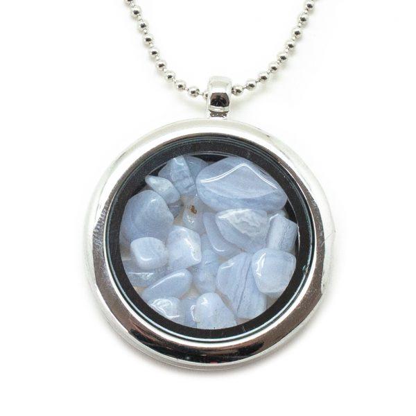 Blue Lace Agate Floating Pendant-193556