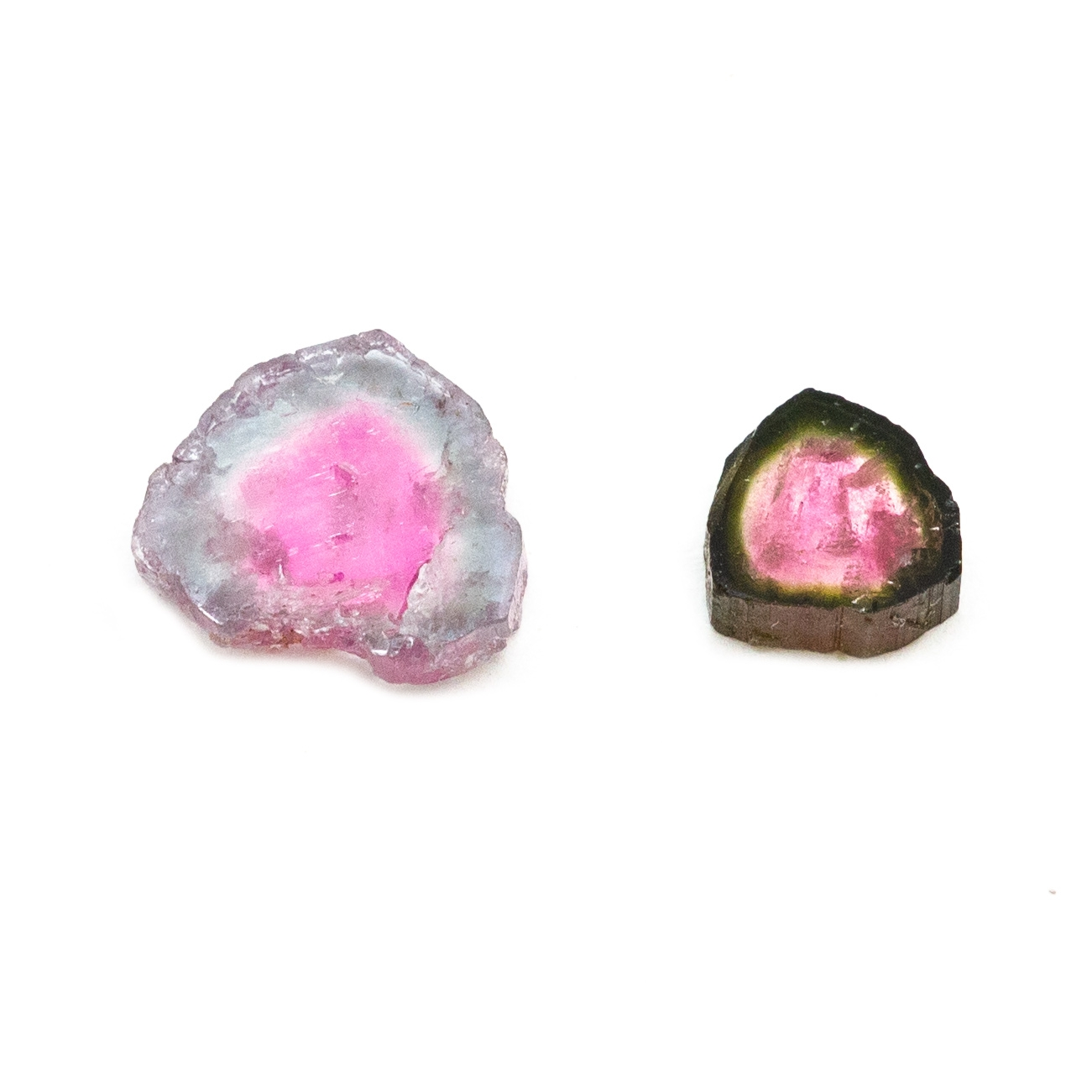 Watermelon Tourmaline Slice Pair Crystal Vaults