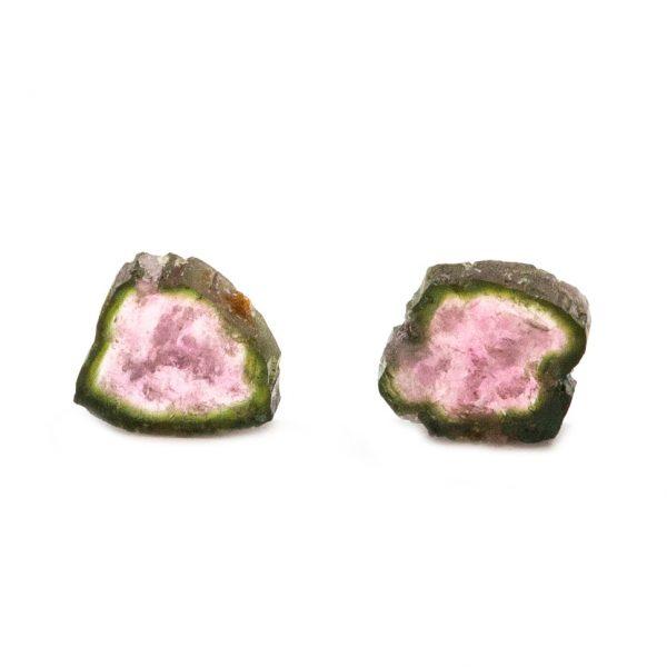 Watermelon Tourmaline Slice Pair-0