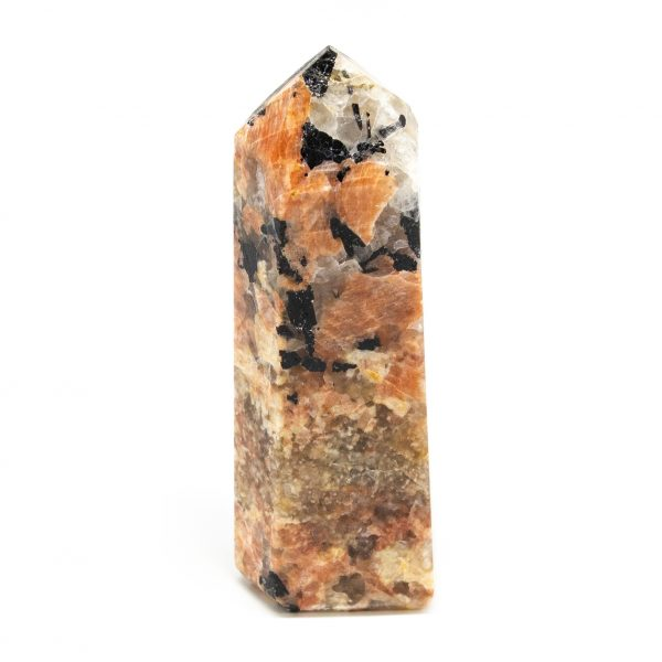 Polished Feldspar with Black Tourmaline Point-0