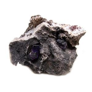 Violet Fluorite Crystal on Matrix-0