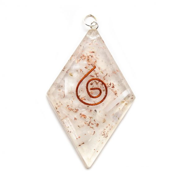 Selenite Orgonite Diamond Pendant-0