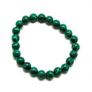 Synthetic Malachite Bead Bracelet-0