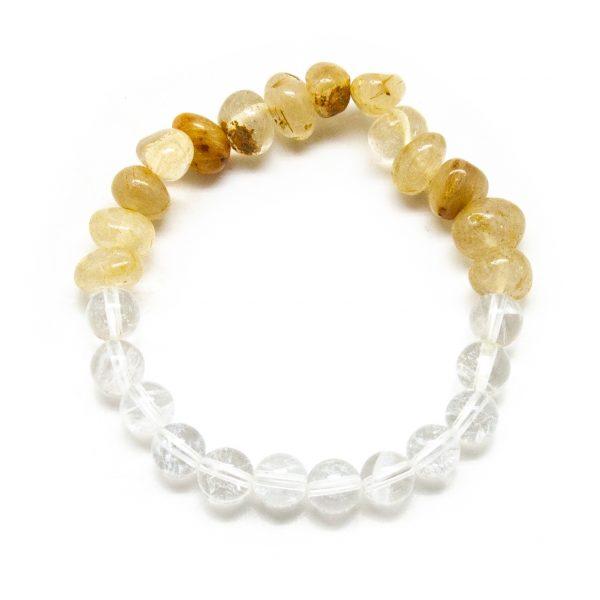 Rutilated and Clear Quartz Bracelet-206228