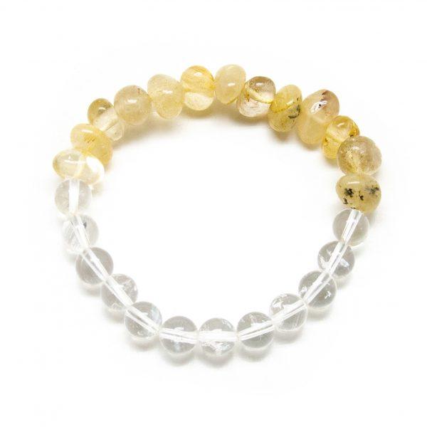 Rutilated and Clear Quartz Bracelet-0