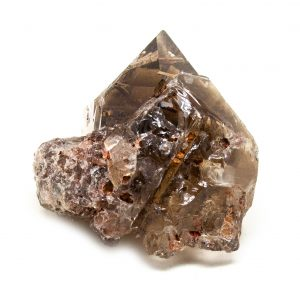 Rutilated Red Epidote in Smoky Quartz Crystal-0